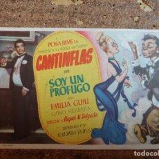 Cine: FOLLETO DE MANO DE LA PELÍCULA CANTINFLAS EN SOY UN PRÓFUGO CON PUBLICIDAD. Lote 263185805