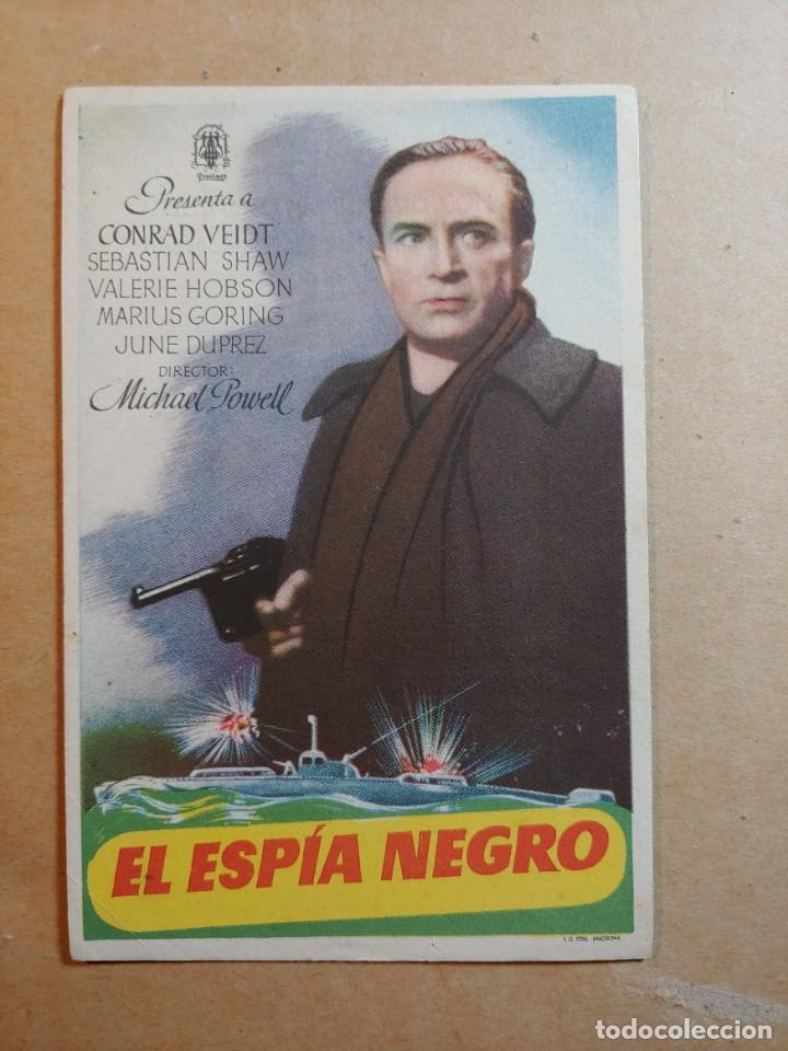 FOLLETO DE MANO DE LA PELÍCULA EL ESPÍA NEGRO CON PUBLICIDAD (Cine - Folletos de Mano - Suspense)