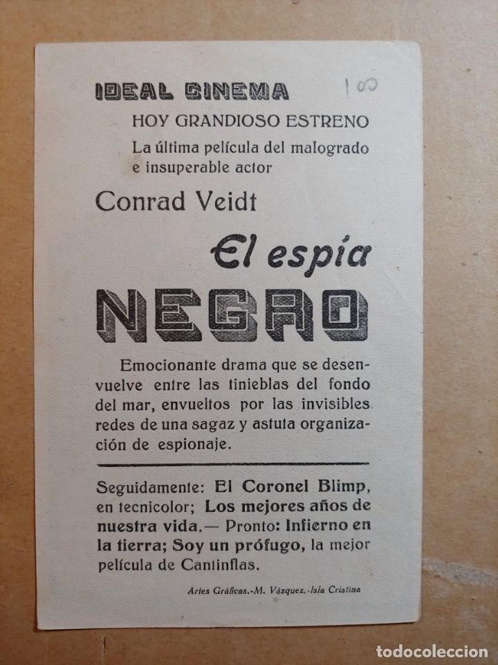 Cine: FOLLETO DE MANO DE LA PELÍCULA EL ESPÍA NEGRO CON PUBLICIDAD - Foto 2 - 263542255