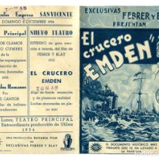 Folhetos de mão de filmes antigos de cinema: EL CRUCERO EMDEN CON LOUIS RAIP.. Lote 264096075