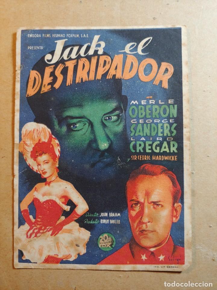 FOLLETO DE MANO DE LA PELÍCULA JACK EL DESTRIPADOR CON PUBLICIDAD (Cine - Folletos de Mano - Terror)