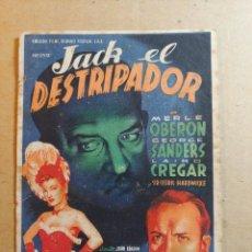Cine: FOLLETO DE MANO DE LA PELÍCULA JACK EL DESTRIPADOR CON PUBLICIDAD. Lote 264514869