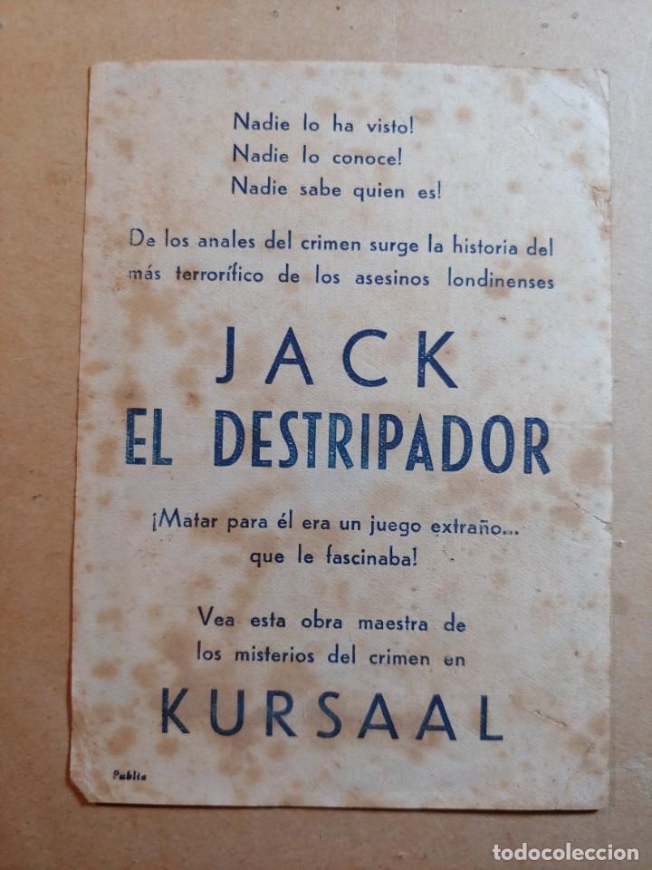 Cine: FOLLETO DE MANO DE LA PELÍCULA JACK EL DESTRIPADOR CON PUBLICIDAD - Foto 2 - 264514869
