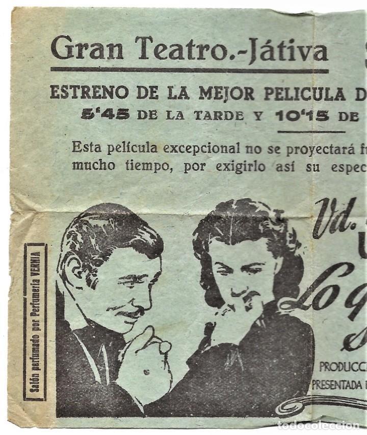Cine: PROGRAMA LOCAL ESTRENO LO QUE EL VIENTO SE LLEVÓ - GRAN TEATRO - JÁTIVA (VALENCIA) - Foto 2 - 264522234