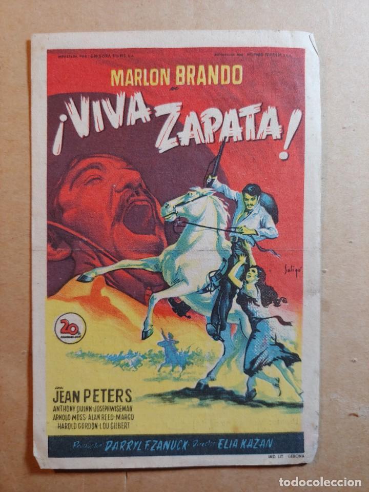 FOLLETO DE MANO DE LA PELÍCULA VIVA ZAPATA CON PUBLICIDAD (Cine - Folletos de Mano - Westerns)