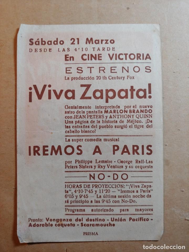 Cine: FOLLETO DE MANO DE LA PELÍCULA VIVA ZAPATA CON PUBLICIDAD - Foto 2 - 264528374