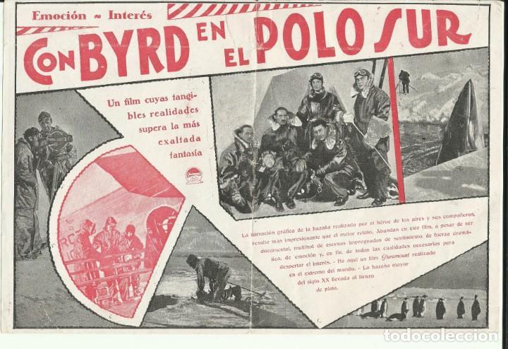 PTCC 064 CON BYRD EN EL POLO SUR PROGRAMA DOBLE PARAMOUNT RICHARD E. BYRD DOCUMENTAL (Cine - Folletos de Mano - Documentales)