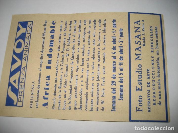 Cine: antiguo programa de mano africa indomable tarjeta . documental warner bros . savoy - Foto 3 - 264784679