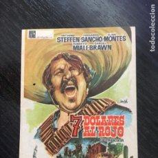 Folhetos de mão de filmes antigos de cinema: 7 DOLARES AL ROJO - PROGRAMA DE CINE C/P BADALONA 1962. Lote 265207924