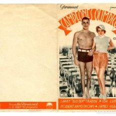 Flyers Publicitaires de films Anciens: CAMPEONES OLÍMPICOS, CON BUSTER CRABBE.. Lote 265472594