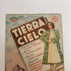 Cine: TIERRRA Y CIELO - DOBLE - PUBLICIDAD CINE GADES. Lote 265924363