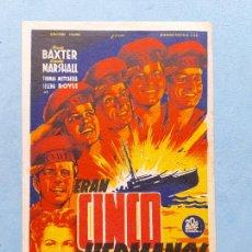 Folhetos de mão de filmes antigos de cinema: ERAN CINCO HERMANOS. ANNE BAXTER, CUNCHY MARSHALL, THOMAS MITCHEL, SELENA ROYLE. Lote 266065558