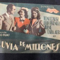 Cine: LLUVIA DE MILLONES - DOBLE - PUBLICIDAD CINEMA GOYA. Lote 266111828