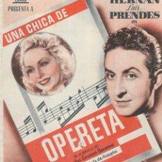 Folhetos de mão de filmes antigos de cinema: PN - PROGRAMA DOBLE - UNA CHICA DE OPERETA - JOSITA HERNAN, LUIS PRENDES - PRINCIPAL CINEMA (MÁLAGA). Lote 266481288