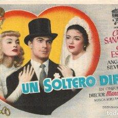 Folhetos de mão de filmes antigos de cinema: PN - PROGRAMA DE CINE - UN SOLTERO DIFÍCIL - CONRADO SANMARTÍN - PRINCIPAL CINEMA (MÁLAGA) - 1952.. Lote 266580248