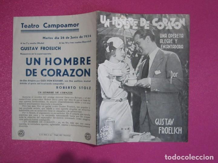 UN HOMBRE DE CORAZON GUSTAV FROELICH PROGRAMA CINE C2 (Cine - Folletos de Mano - Musicales)