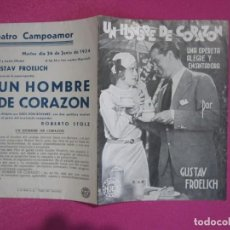 Cine: UN HOMBRE DE CORAZON GUSTAV FROELICH PROGRAMA CINE C2. Lote 80979596