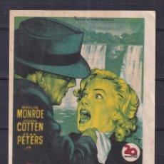 Flyers Publicitaires de films Anciens: OFERTA PROGRAMA DE CINE ORIGINAL DE 1953 * NIAGARA * (MARILYN MONROE) EN MUY BUEN ESTADO. Lote 266855764