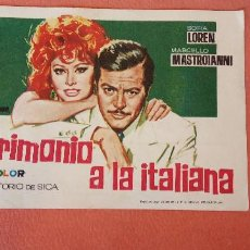 Folhetos de mão de filmes antigos de cinema: MATRIMONIO A LA ITALIANA. SOFIA LOREN. MARCELLO MASTROIANNI.. Lote 266872634