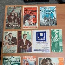 Flyers Publicitaires de films Anciens: LOTE DE 10 FOLLETOS DE CINE ANTIGUO. Lote 267046334