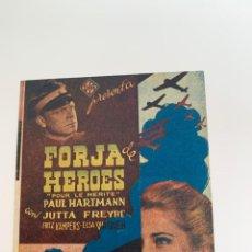 Cine: FORJA DE HÉROES - PROGRAMA DOBLE - REVERSO IMPRESO. Lote 267082154