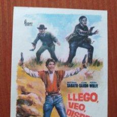 Folhetos de mão de filmes antigos de cinema: LLEGO VEO DISPARO. Lote 267488949