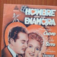 Folhetos de mão de filmes antigos de cinema: EL HOMBRE QUE LAS ENAMORA , DOBLE (CON PUBLICIDAD). Lote 267625009