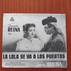 Folhetos de mão de filmes antigos de cinema: LA LOLA SE VA A LOS PUERTOS, DOBLE (CON PUBLICIDAD). Lote 267625184