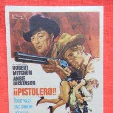 Folhetos de mão de filmes antigos de cinema: PISTOLERO, ISENCILLO EXCTE. ESTADO, ROBERT MITCHUM, C/PUBLI TEATRO CIRCO. Lote 267646194