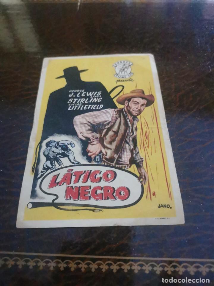 PROGRAMA DE MANO ORIG - LATIGO NEGRO - CON CINE DE RUTE IMPRESO AL DORSO (Cine - Folletos de Mano - Westerns)