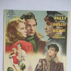 Cine: LOS QUE VIVIMOS Y ADIOS KIRA - ALIDA VALLI - 1942 - SIN PUBLICIDAD. Lote 268039149