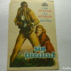 Flyers Publicitaires de films Anciens: PROGRAMA SIN PIEDAD - PUBLICIDAD CINE ESPAÑA-LUGO. Lote 268282604