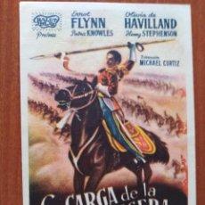 Folhetos de mão de filmes antigos de cinema: LA CARGA DE LA BRIGADA LIGERA (CON PUBLICIDAD). Lote 268297299
