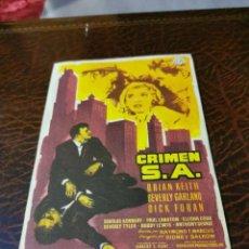Cine: PROGRAMA DE MANO ORIG - CRIMEN S.A. - SIN CINE IMPRESO AL DORSO. Lote 268475874