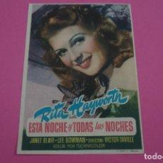 Cine: FOLLETO DE MANO PROGRAMA DE CINE ESTA NOCHE Y TODAS LAS NOCHES SIN PUBLICIDAD LOTE 85 MIRAR FOTOS. Lote 268596329