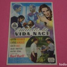 Cine: FOLLETO DE MANO PROGRAMA DE CINE CUANDO LA VIDA NACE SIN PUBLICIDAD LOTE 85 MIRAR FOTOS. Lote 268598449
