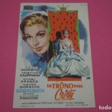 Cine: FOLLETO DE MANO PROGRAMA DE CINE UN TRONO PARA CRISTY SIN PUBLICIDAD LOTE 85 MIRAR FOTOS. Lote 268599504
