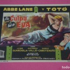 Cine: FOLLETO DE MANO PROGRAMA DE CINE LA CULPA FUE DE EVA SIN PUBLICIDAD LOTE 85 MIRAR FOTOS. Lote 268599689