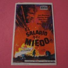 Cine: FOLLETO DE MANO PROGRAMA DE CINE EL SALARIO DEL MIEDO SIN PUBLICIDAD LOTE 86 MIRAR FOTOS. Lote 268734724