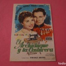 Cine: FOLLETO DE MANO PROGRAMA DE CINE EL ARCHIDUQUE Y LA COSTURERA SIN PUBLICIDAD LOTE 86 MIRAR FOTOS. Lote 268735209