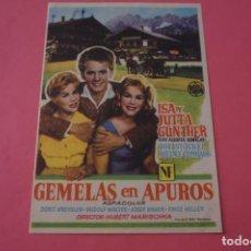 Cine: FOLLETO DE MANO PROGRAMA DE CINE GEMELAS EN APUROS SIN PUBLICIDAD LOTE 86 MIRAR FOTOS. Lote 268735334