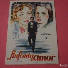 Cine: FOLLETO DE MANO PROGRAMA DE CINE SINFONIA DE AMOR SIN PUBLICIDAD LOTE 86 MIRAR FOTOS. Lote 268736804