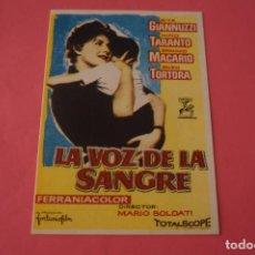 Cine: FOLLETO DE MANO PROGRAMA DE CINE LA VOZ DE LA SANGRE SIN PUBLICIDAD LOTE 86 MIRAR FOTOS. Lote 268737804