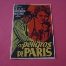 Cine: FOLLETO DE MANO PROGRAMA DE CINE LOS PELIGROS DE PARIS SIN PUBLICIDAD LOTE 87 MIRAR FOTOS. Lote 268742419