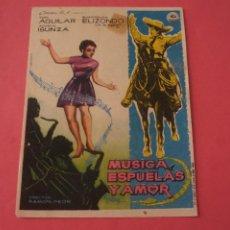 Cine: FOLLETO DE MANO PROGRAMA DE CINE MUSICA ESPUELAS Y AMOR SIN PUBLICIDAD LOTE 87 MIRAR FOTOS. Lote 268743369