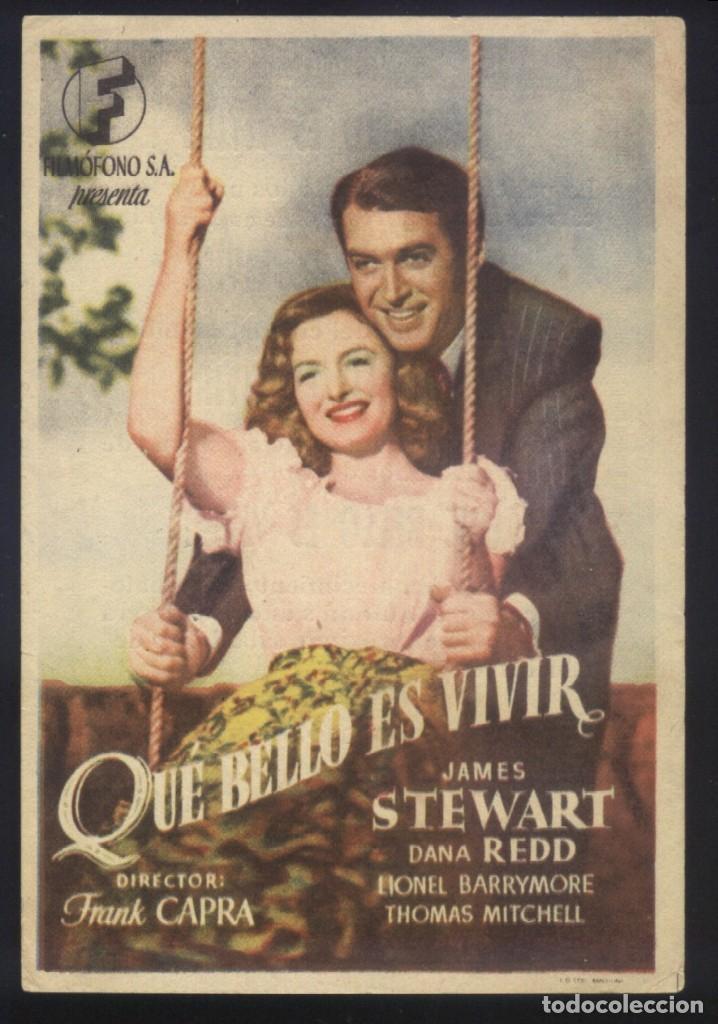 P-9395- QUE BELLO ES VIVIR (IT'S A WONDERFUL LIFE) (CINE MORAN - PONFERRADA) JAMES STEWART (Cine - Folletos de Mano - Drama)