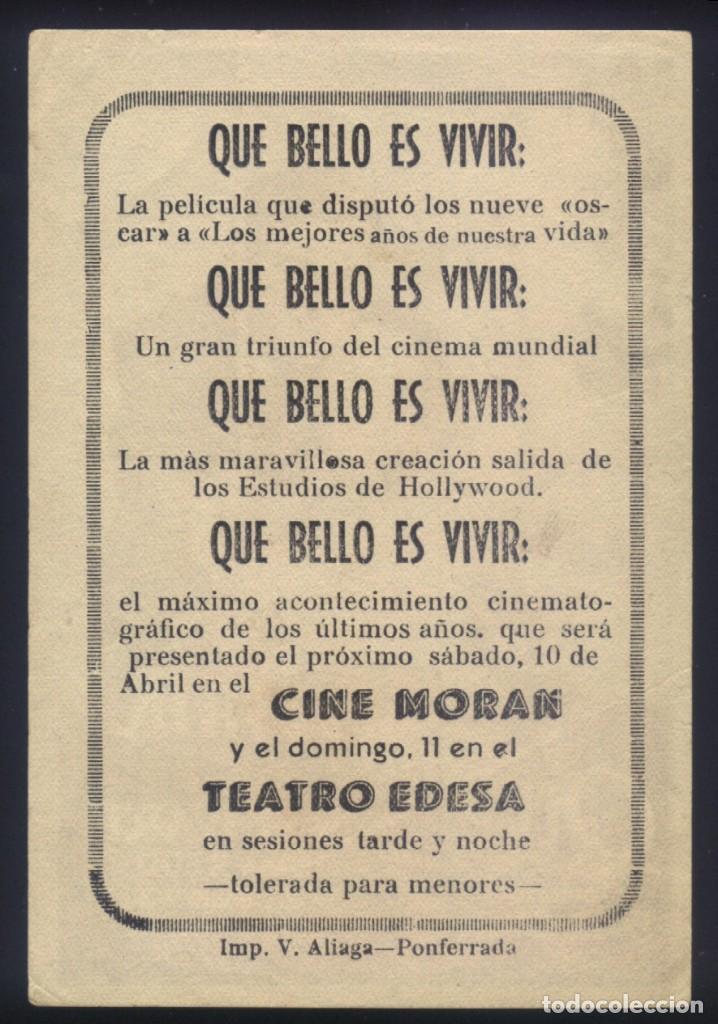 Cine: P-9395- QUE BELLO ES VIVIR (Its a Wonderful Life) (CINE MORAN - PONFERRADA) James Stewart - Foto 2 - 268959144