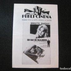 Folhetos de mão de filmes antigos de cinema: EN CASO DE DESGRACIA-BRIGITTE BARDOT-PUBLI CINEMA-GUIA PROGRAMA DE CINE-VER FOTOS-(K-3280). Lote 269148818