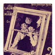 Cine: P0R QUE TRABAJAR, CON STAN LAUREL Y OLIVER HARDY.. Lote 269159843