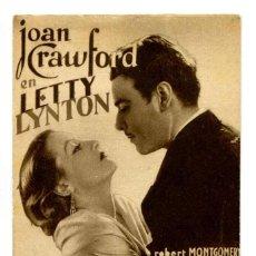 Cine: LETTY LYNTON, CON JOAN CRAWFORD, CON BELA LUGOSI. Lote 269162633